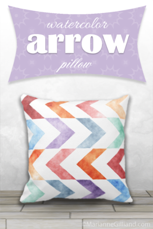 Trendy Watercolor Arrow Pillow